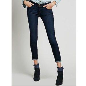 Free People Rolled Crop Stretch Dark Skinny Jeans